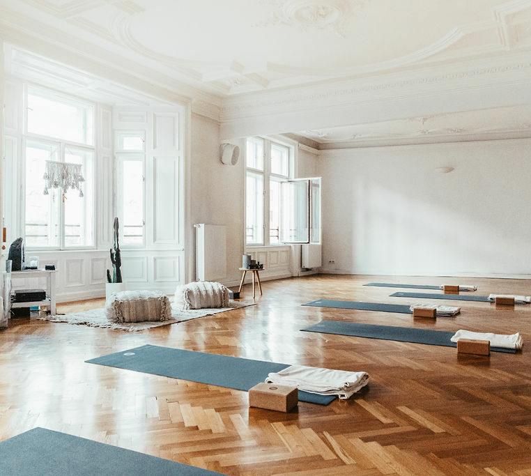 Ansicht von links großer Yogaraum mit Matten